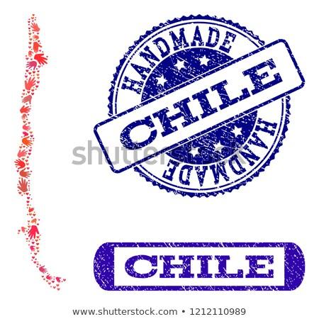 Chile piros pecsét felirat izolált fehér Stock fotó © tashatuvango