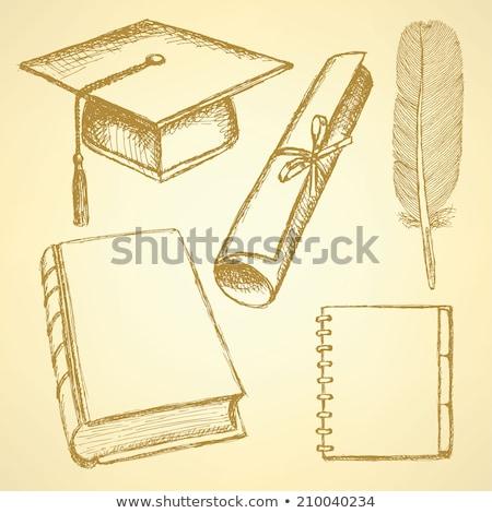 Eski · kağıt · tüy · örnek · kitap · duvar · soyut - stok fotoğraf © kali