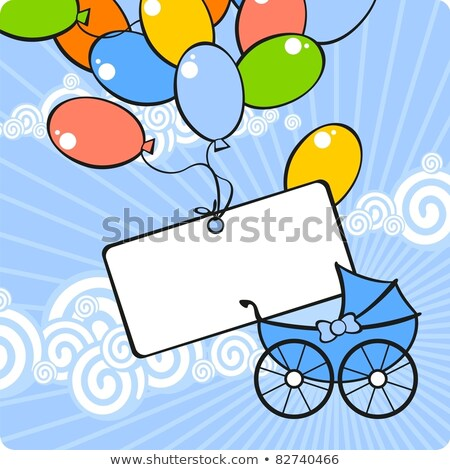 Blue Sky Rays Blue Boy Baby Buggy Stock photo © limbi007
