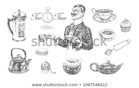 Cup of tea with kettle and strainer in vintage style Stock photo © feelphotoart