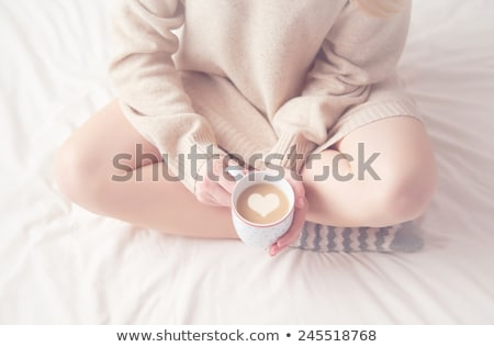 Stock photo: Knitted wool cup valentines day