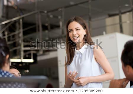 örvend fiatal nő képzés fiatal hölgy lány Stock fotó © konradbak