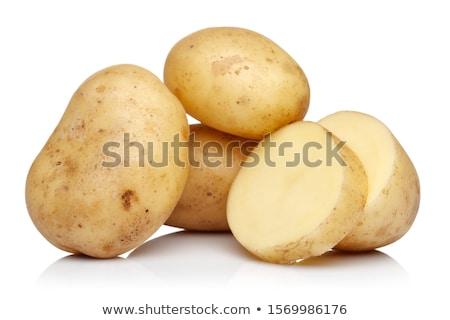 Stockfoto: Gesneden · aardappel · geïsoleerd · witte · natuur · kleur
