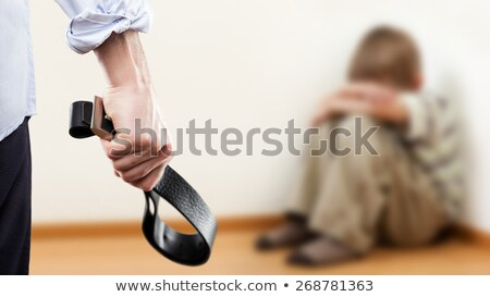 Zangado homem mão couro Foto stock © ia_64