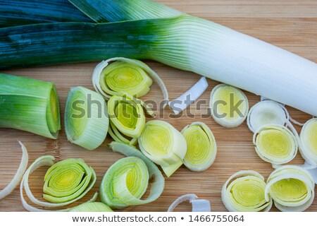 Vers gesneden prei witte voedsel plant Stockfoto © peter_zijlstra