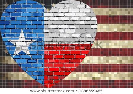 Forme de coeur pavillon Texas mur de briques coeur Photo stock © vepar5