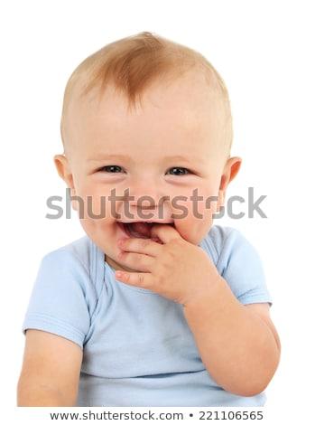 kahkaha · kız · yakın · mavi · çiçekler · bebek - stok fotoğraf © ivz