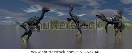 Três dinossauro lago céu água verde Foto stock © mariephoto