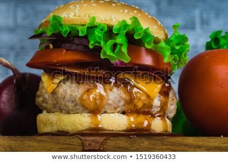 ジューシー サンドイッチ 野菜 フォーカス 空白 ストックフォト © badmanproduction