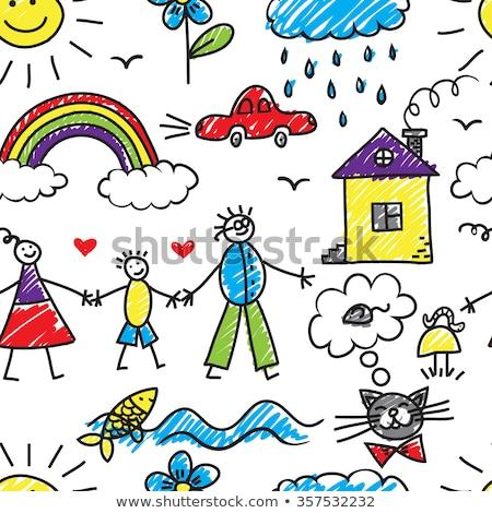 hart · liefde · Blauw · inpakpapier · papier - stockfoto © netkov1