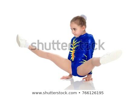 mooie · flexibele · meisje · gymnast · geïsoleerd · witte - stockfoto © deandrobot