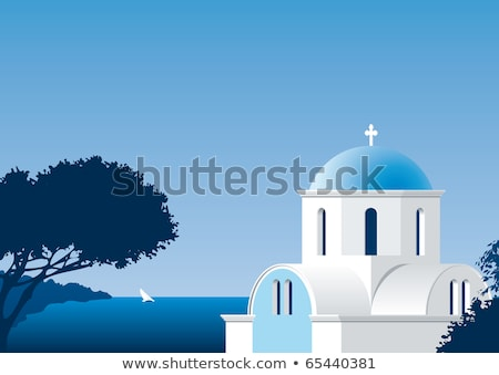 Typique grec église blanche bleu Grèce Photo stock © deyangeorgiev