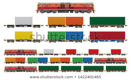 Diesel locomotiva porta carvão céu nuvens Foto stock © papa1266