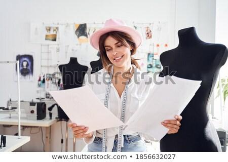 kreatív · nő · divat · designer · szemüveg · ül - stock fotó © deandrobot