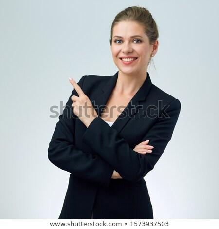 Sorrir mulher de negócios mostrar dedos isolado branco Foto stock © restyler