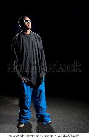 retrato · moda · africano · americano · homem · óculos · de · sol - foto stock © arenacreative