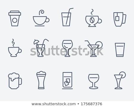 Mok warme drank lijn icon hoeken web Stockfoto © RAStudio