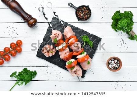 nyers · tyúk · kebab · citromsárga · bors · szalonna - stock fotó © digifoodstock
