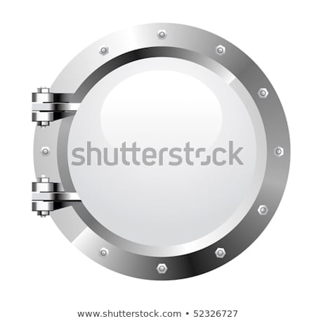 Underwater ship porthole with shark, vector illustration Stock photo © carodi