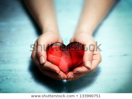 kettő · szerető · ujjak · mosolyog · szív · viszony - stock fotó © photocreo