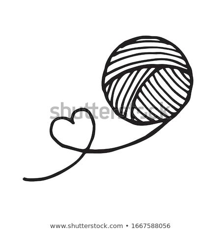 tığ · işi · kanca · ikon · siyah · beyaz · moda · sanat - stok fotoğraf © angelp