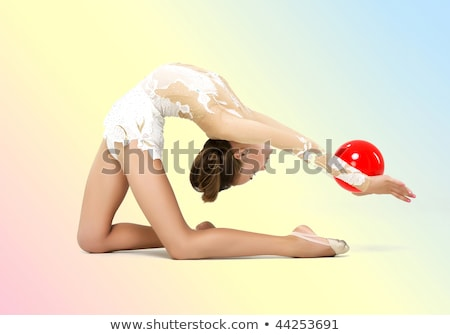 Portré fiatal lány tornász piros labda fiatal Stock fotó © O_Lypa