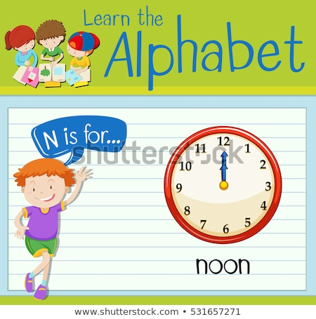 Flashcard letter N is for noon Stock photo © bluering
