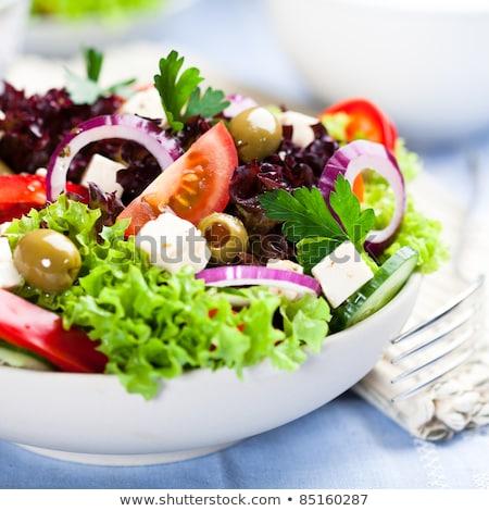 Zöldség saláta zöld olajbogyók sajt levelek Stock fotó © Digifoodstock