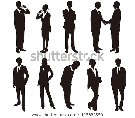 ビジネスマン · 女性 · シルエット · 立って · ポーズ · eps - ストックフォト © istanbul2009