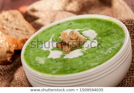 soep · gebakken · brood · vlees · tomaat · vintage - stockfoto © digifoodstock