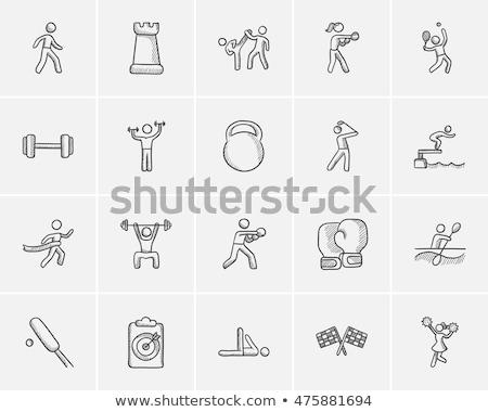 férfi · testmozgás · tornaterem · apparátus · rajz · ikon - stock fotó © rastudio