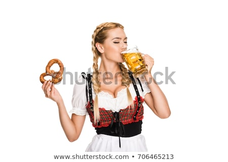 Stockfoto: Oktoberfest · meisje · bier · illustratie · vrouw · grappig