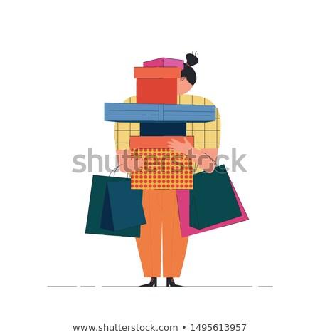 Sevimli alışveriş çantası afiş renkli çanta farklı Stok fotoğraf © lucia_fox