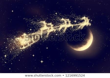 Stockfoto: Maan · vliegen · kerstman · rendier · nacht