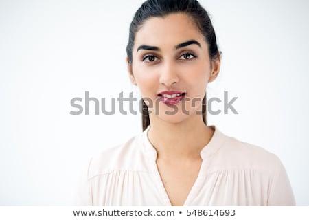 közelkép · portré · ázsiai · nő · nő · mosolyog · visel - stock fotó © iordani