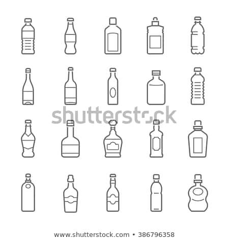 Foto stock: Sosa · botella · línea · icono · vector · aislado