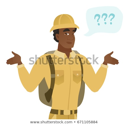 African confused traveler with spread arms. Stock photo © RAStudio