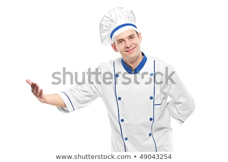 Chef cook with arm out in a welcoming gesture. Stock photo © RAStudio