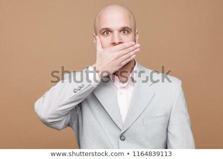 biznesmen · ciszy · pracy · tie · zawodowych · palec - zdjęcia stock © gsermek