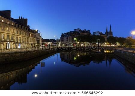 Kathedraal nacht hemel stad Blauw stedelijke Stockfoto © benkrut