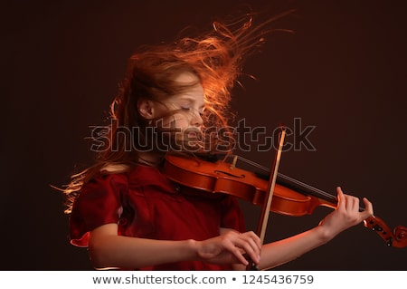 vrouw · spelen · viool · boeg · mooie - stockfoto © tekso