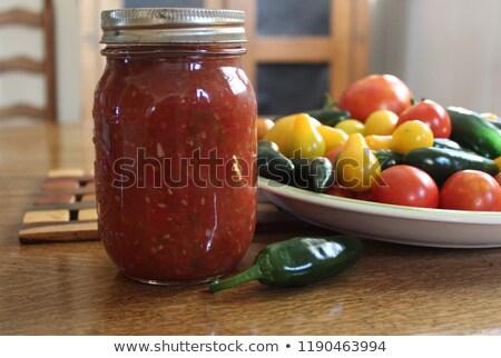 jar · salsa · ingrediënten · voedsel · achtergrond · groene - stockfoto © stephaniefrey