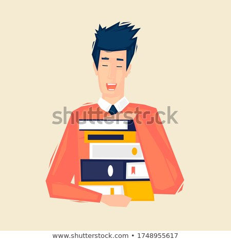 Foto stock: Businessman Student Carrying Holding Pile Of Books Isolated On W