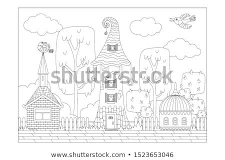 fabelachtig · toren · balkon · bloemen · huis · gras - stockfoto © bedlovskaya