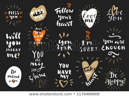 Valentinsdag Tag Foto Hand gezeichnet inspirierend Text Stock foto © JeksonGraphics