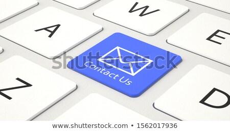 Stockfoto: Blauw · business · mail · toetsenbord · 3D
