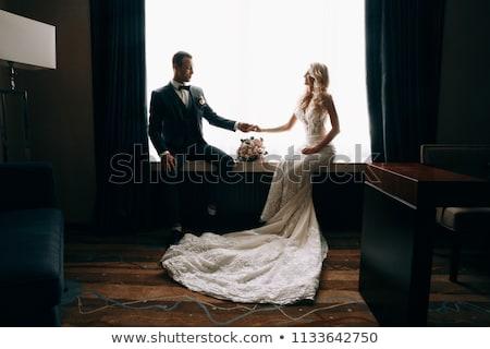 ストックフォト: 官能的な · 女性 · ベール · 魅力的な · ポーズ · 後ろ