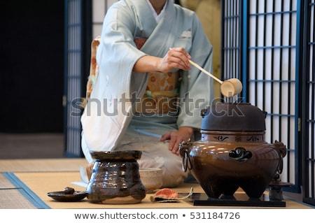 Rituale tè cerimonia illustrazione donna silhouette Foto d'archivio © adrenalina