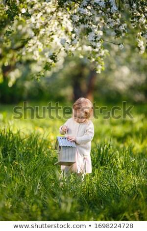 cute pretty little girl in white dress, apple near Stock photo © Traimak