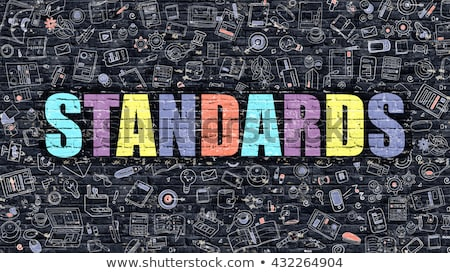 Multicolor Standards on Dark Brickwall. Doodle Style. Stock photo © tashatuvango